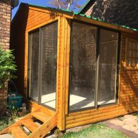 End Product - Log Art Studio with Aluminium Sliding Doors and Stairs