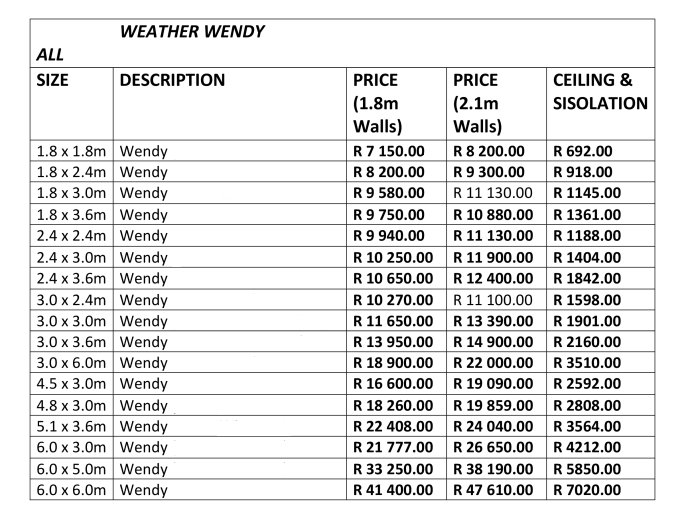 All Weather Wendy Pricelist